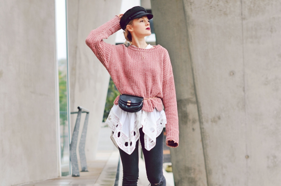 pullover, knitted, strick, grobstrick, herbst, mules, gürteltasche, beltbag, chloe
