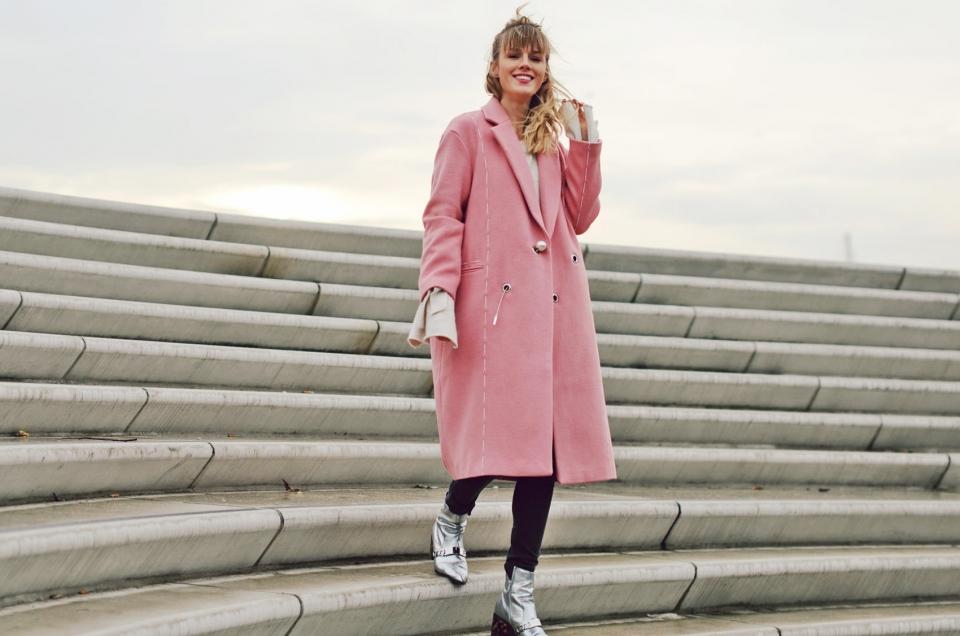 pink coat, metallic boots, silver