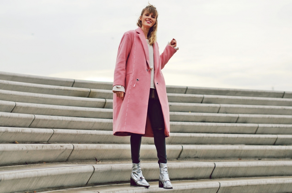 winter coat, pink, black pants, silver boots