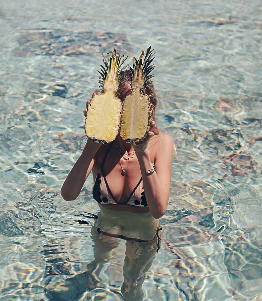 portugal, bikini, pool, ananas