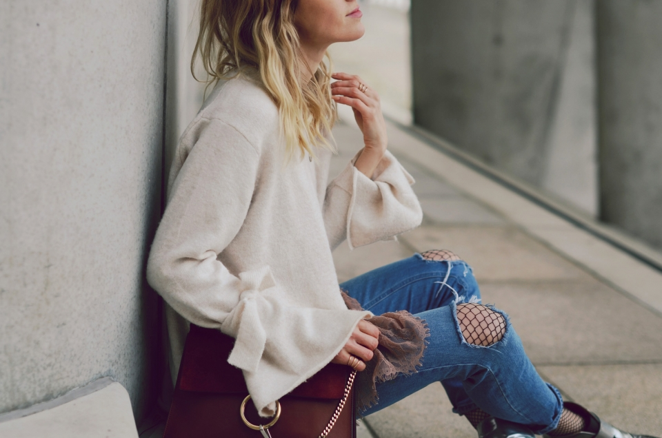 knitted sweater, wool, jeans, silver shoes, boots