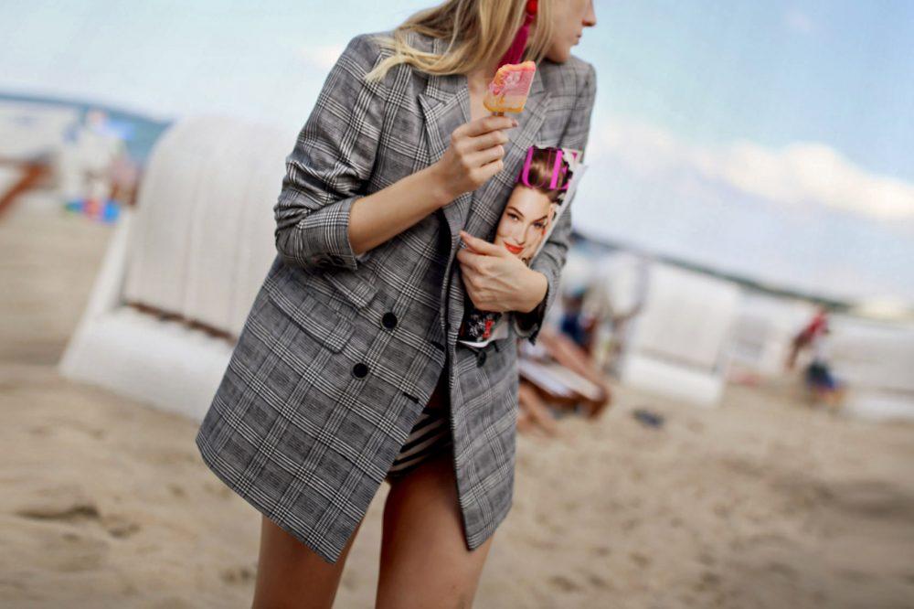 blazer, strand, karo