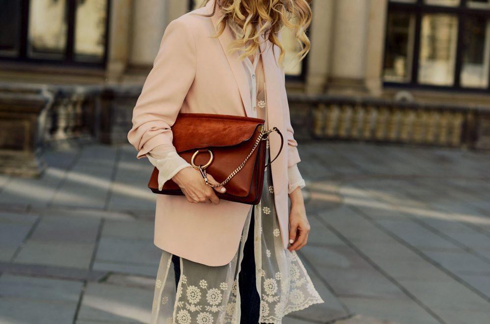 blazer, rosa, pink, transparent, heels, pumps, sandaletten, chloe, faye, handtasche