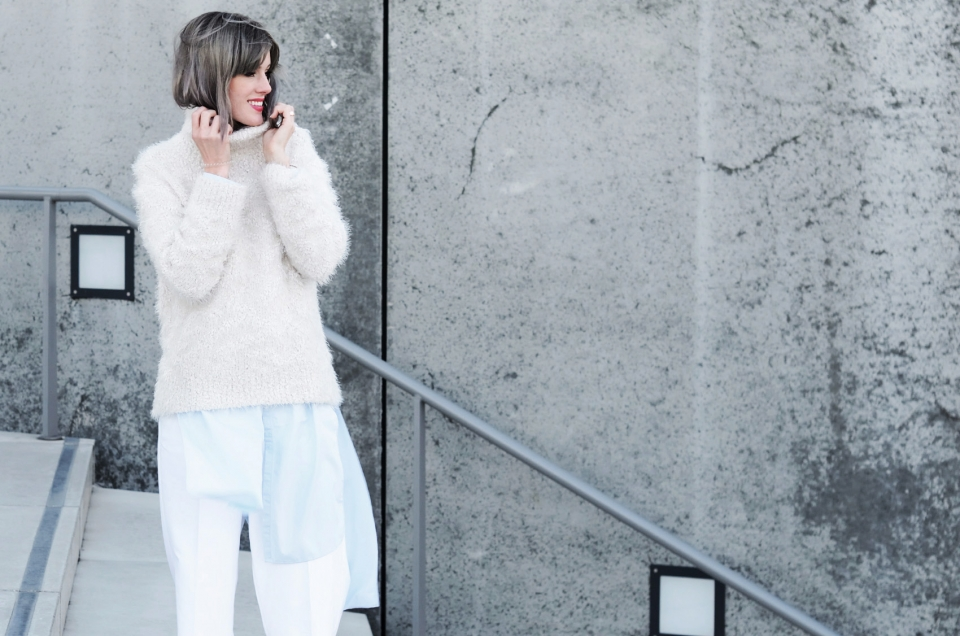white outfit, pants, blouse, pullover