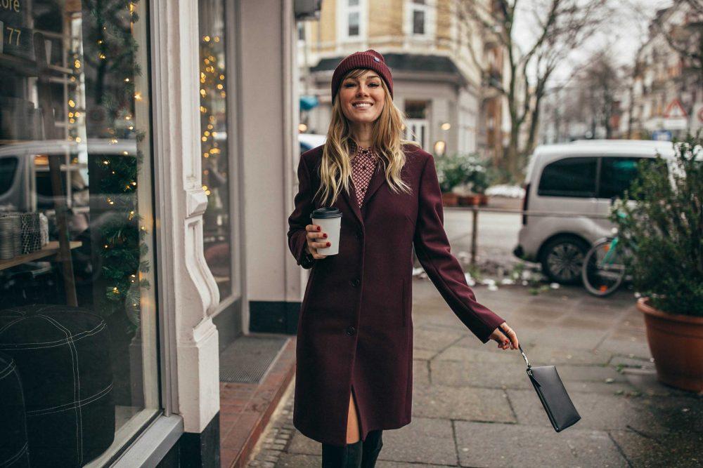 60s, 70s, a linie, mantel, burgundy, clutch, handtasche, beanie, mütze, bluse, hemdkleid, stiefel, boots, overknees, winter