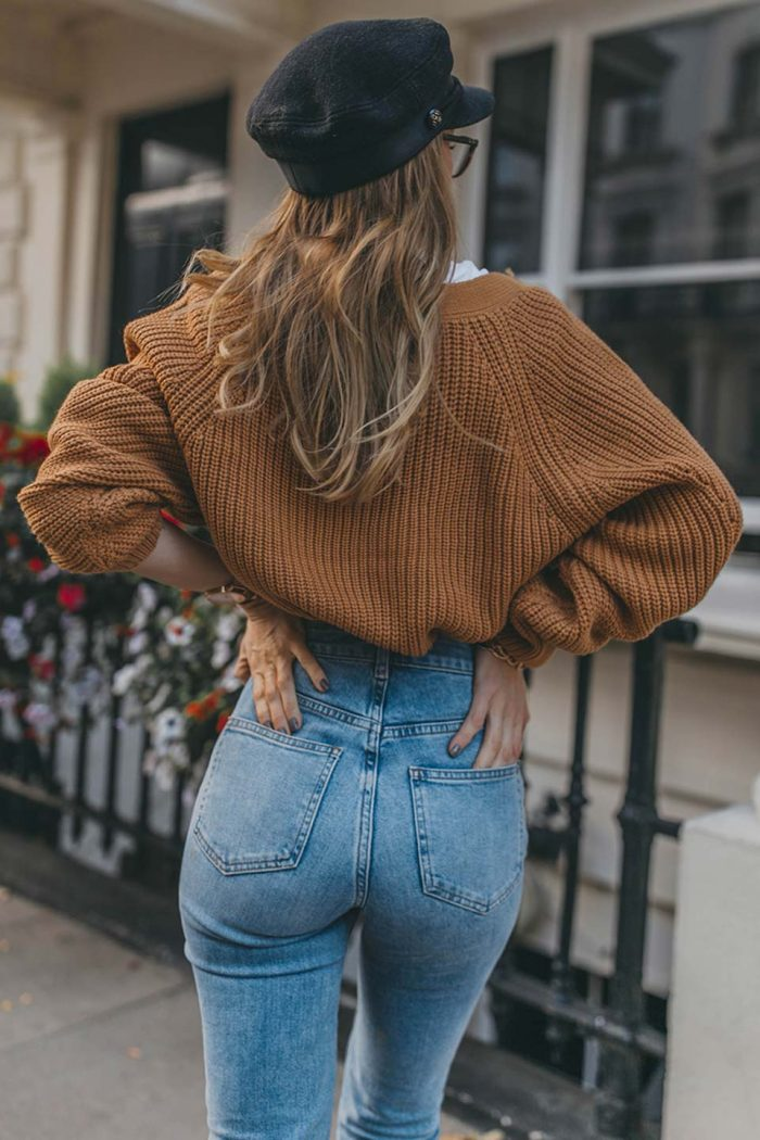 denm, jeans, strickjacke