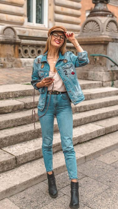 jeans, jeans look, denim, jeansjacke, pacthes
