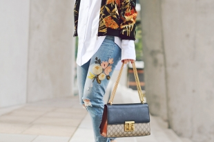gucci, jeans, patches, samt , longblouse, bluse, handtasche, mules, nude
