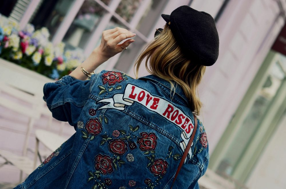 jeansjacke, rosa