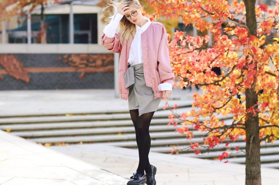 fall leaves, knotted skirt, loafers, pink jacket, white blouse