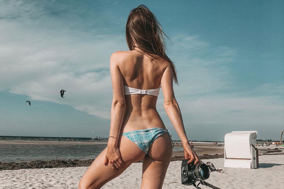 bikini, kontrolle, loslassen, strand, beach, kamera