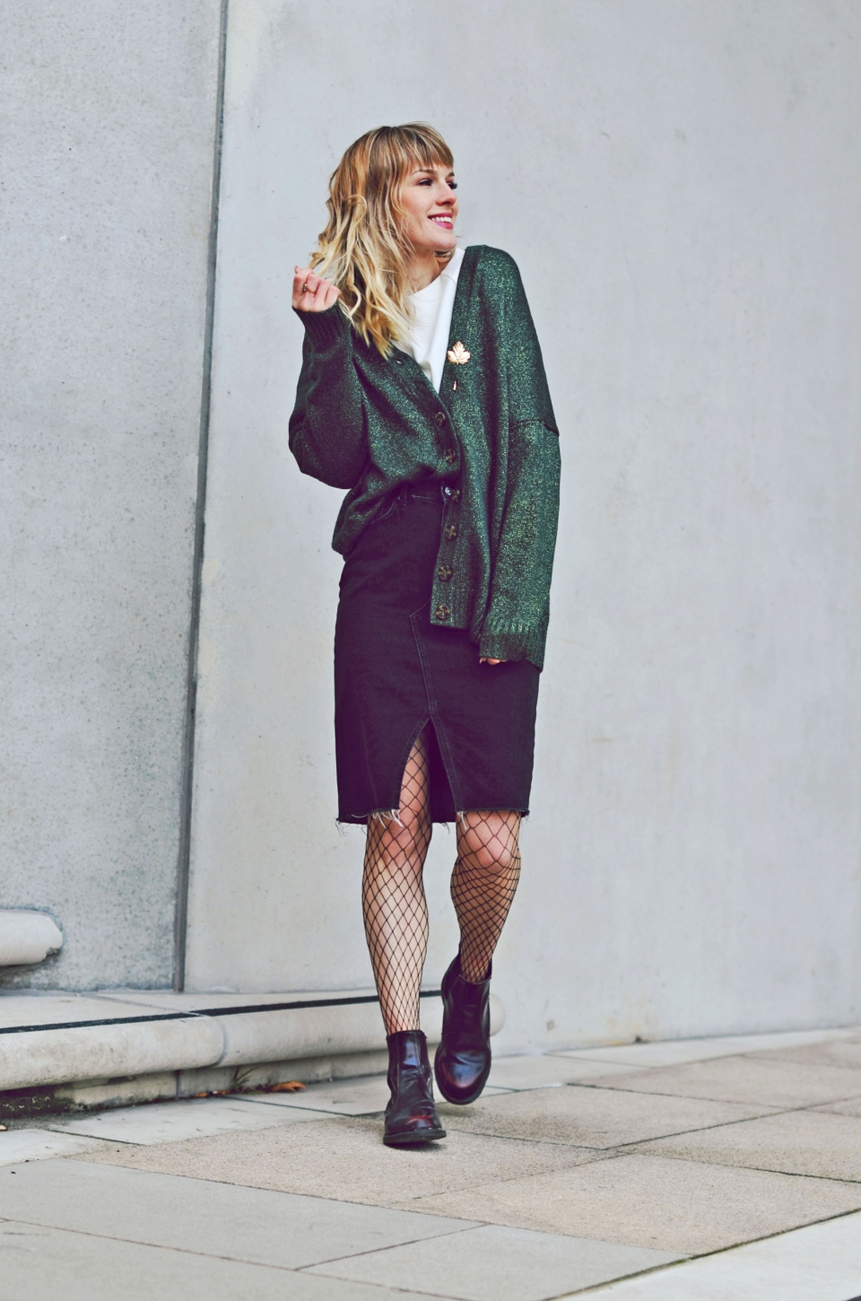 cardigan, skirt, dark denim, fish net, Boots