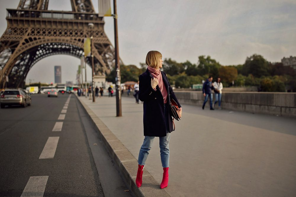 paris, mantel, jeans, denim, boots, pink, rollkragenpullover, turtleneck, handtasche, chloe, winter