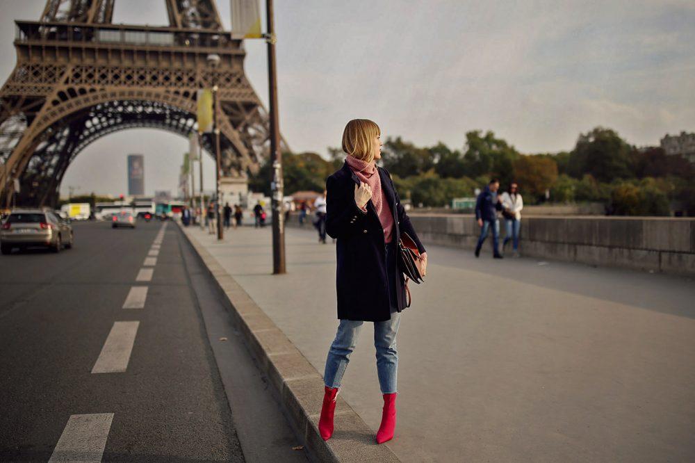 paris, mantel, jeans, denim, boots, pink, rollkragenpullover, turtleneck, handtasche, chloe, winter