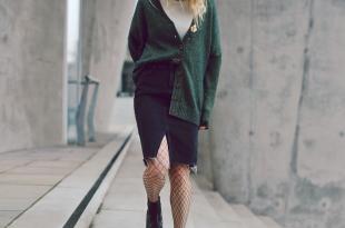 cardigan, rock, jeansrock, skirt, netzstrumpfhose