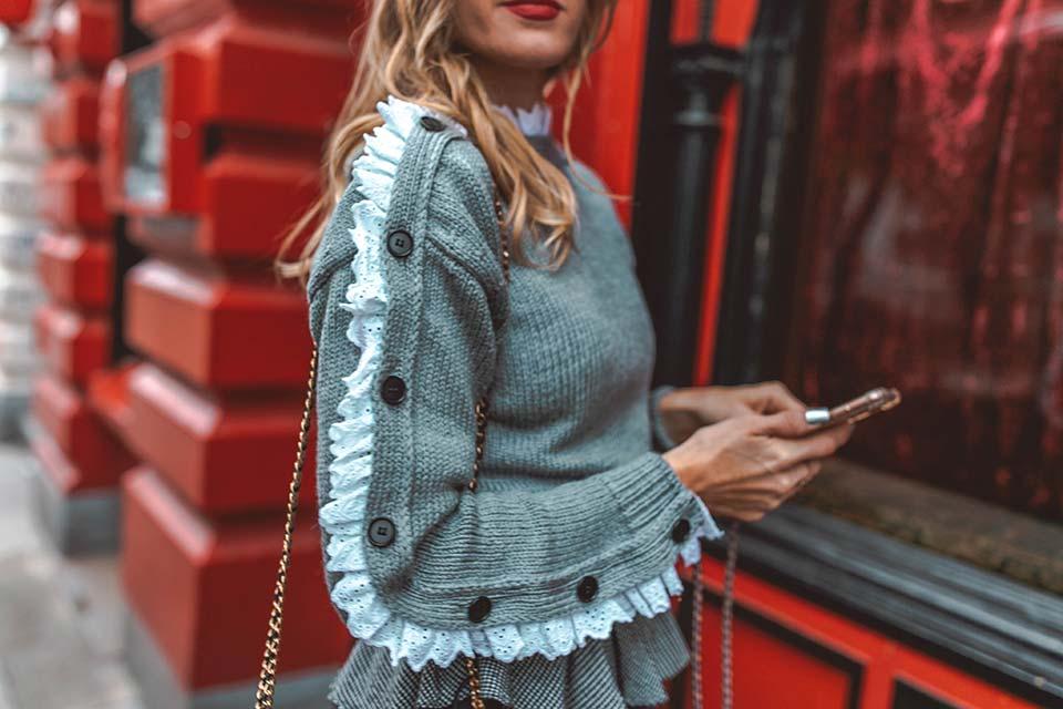 strick, pullover, rüschen, detail