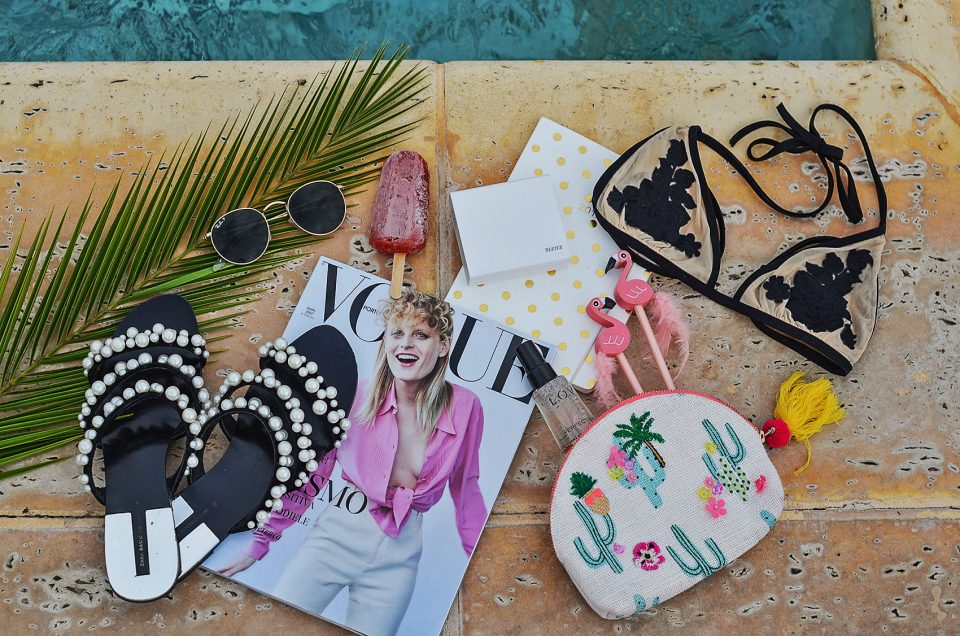 pool essentials, flat lay