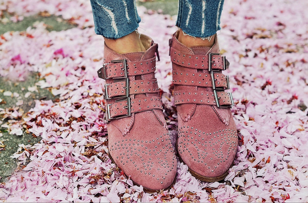schuhe, boots, ankleboots, nieten, denim, jeans, shoes, shopping, trend, rosa, pink
