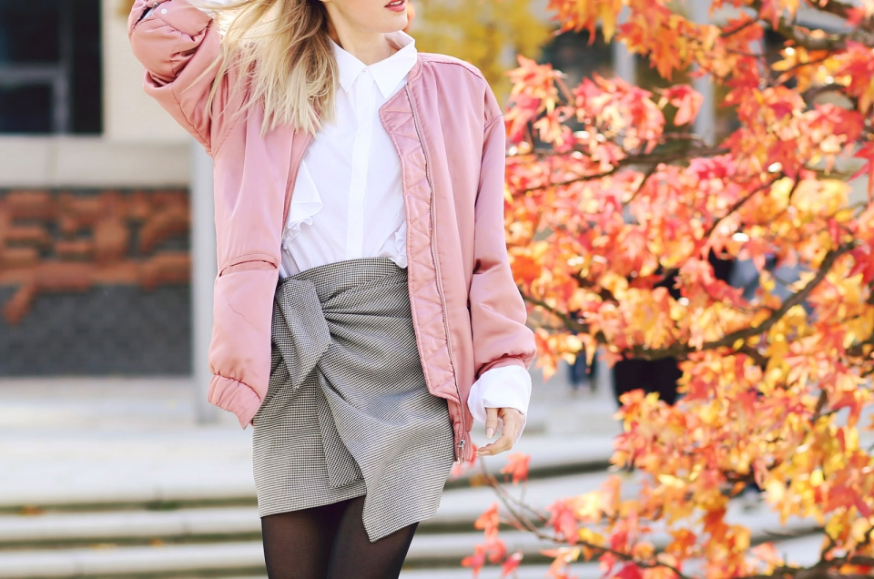 pink bomberjacket, knotted skirt, grey, blouse