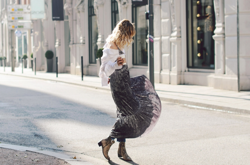 side view, long velvet dress, layering look, blouse under dress, snake boots