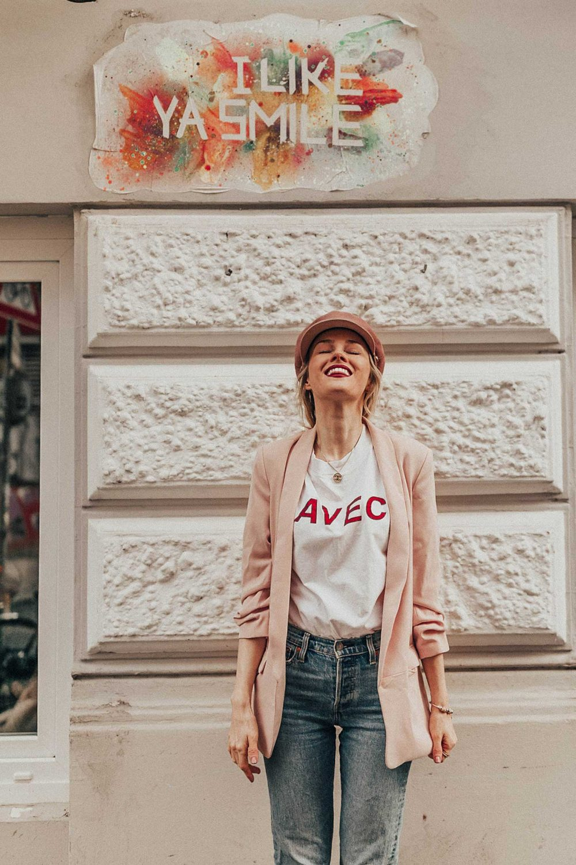 smile, avec, shirt, blazer, denim, hut, hat