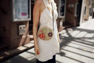 strawbag, strohtasche, accessoires, sommerkleid
