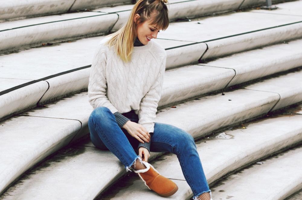 winterboots, boots, ugg boots, strick, knit, denim